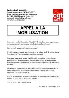 Appel à la mobilisation de la Section SAD de Marseille pour soutenir le Secrétaire général du Syndicat Filpac CGT.