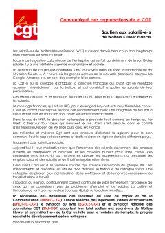 Communiqué de soutien aux salariés de Wolters Kluwer France