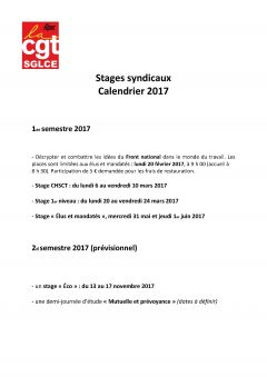 Stages syndicaux, calendrier 2017.