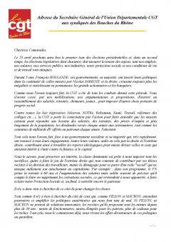 Union Départementale CGT aux syndiqués des Bouches du Rhône