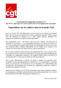 Négociations sur les salaires dans la branche PQN