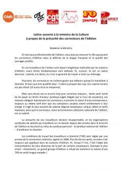 Lettre ouverte à la ministre de la Culture à propos de la précarité des correcteurs de l'édition