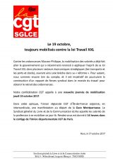 Appel à la mobilisation contre la loi Travail XXL – jeudi 19 octobre 2017