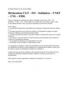 Déclaration CGT – FO – Solidaires – UNEF – UNL – FIDL