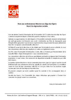 """Non aux ordonnances Macron et à la régression sociale au siège du """"Figaro"""""""