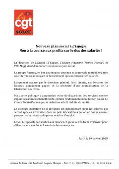 """Nouveau plan social à """"l'Equipe"""""""