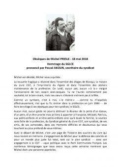 Hommage à Michel PRESLE