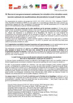 Manif des retraités le 14 juin à 14 h 00 d'Opéra à République
