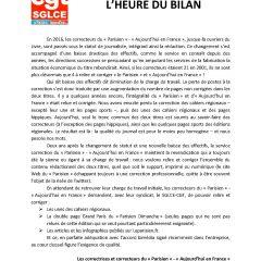 Correction du journal Le Parisien Aujourd'hui en France : l'heure du bilan