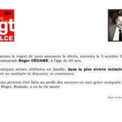 Décès de notre camarade Roger DÉDAME
