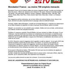 700 emplois menacés à Mondadori : rassemblement jeudi 18 octobre à 9 h 30