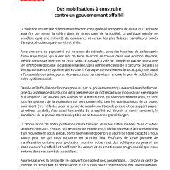 Appel du 9 octobre 2018 : des mobilisations à construire contre un gouvernement affaibli