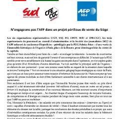 N'engageons pas l'AFP dans un projet périlleux de vente du Siège