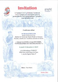 IHS-LP : invitation jeudi 13 décembre 2018