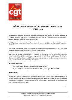 Routage : négociation annuelle des salaires pour 2019