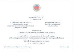 Dévoilement de la plaque en hommage aux ouvriers résistants des messageries morts pour la France