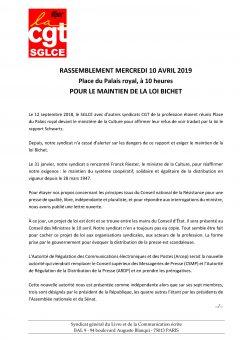 Pour le maintien de la loi Bichet : rassemblement mercredi 10 avril 2019