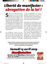 Tous à la République le 13 avril pour la liberté de manifester