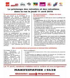 Manif unitaire des retraités le 11 avril