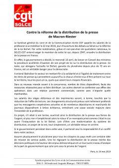 Contre la réforme de la distribution de la presse Macron-Riester