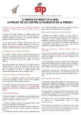 Communiqué du SIPC : le projet de loi contre la pluralité de la presse