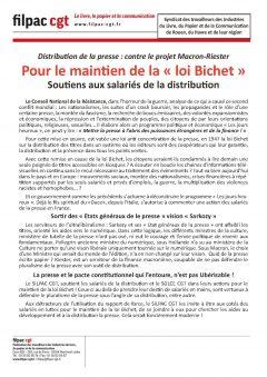 Syndicat des travailleurs des Industries du Livre, du Papier et de la Communication de Rouen, du Havre et de leur région : Pour le maintien de la loi Bichet