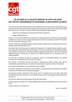 Les salariés de La Galiote Prenant ont décidé unanimement de suspendre le mouvement de grève