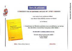 Conférence IHS-LP du mercredi 2 octobre :  Imprimeurs et libraires parisiens sous surveillance, au temps des dernières monarchies françaises (1814-1848)