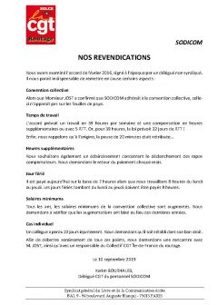 Sodicom : nos revendications