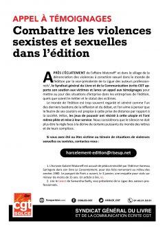Appel à témoignage contre les violences sexistes et sexuelles dans l'édition