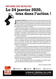 Retraites : appel du SGLCE-CGT à la grève et à la manifestation le 24 janvier