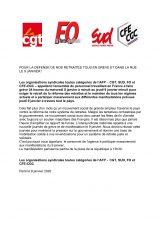 Retraites : appel intersyndical à la grève à l'AFP