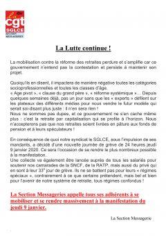 Retraites : appel de la section Messageries du SGLCE-CGT