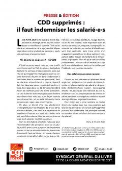 Presse & Édition : il faut indemniser les CDD supprimés !