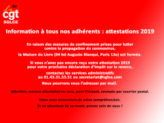 Information importante : attestations cotisations 2019