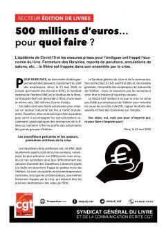 Édition : 500 M€ pour quoi faire ?