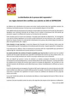 SAD : la distribution de la presse doit reprendre !