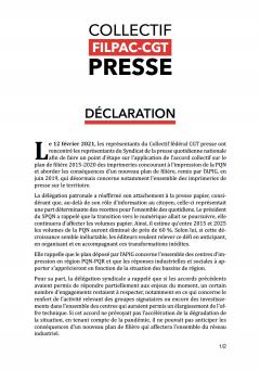 Déclaration du Collectif Filpac-CGT Presse