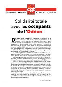 Soutien total aux occupants de l'Odéon !